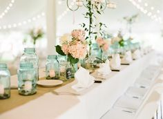 Mint mason jars and blush flowers