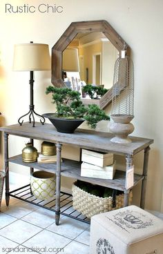 Rustic Chic Entry Table - & foyer ideas- Havertys Home Fashion Workshop #‎holidaydecorating‬