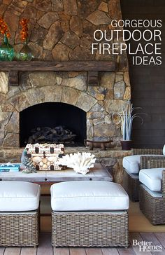 Outdoor dreaming! Make your patio the must-see space in your home! Dress it up with some gorgeous outdoor fireplace ideas: http://www.bhg.com/decorating/fireplace/outdoor/outdoor-fireplace-ideas/?socsrc=bhgpin100213outdoorfireplaces