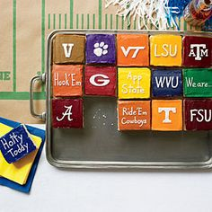 Go for the slice of App State!  Fan-Favorite Game-Day Dishes | White Sheet Cake with Team Color Icing | SouthernLiving.com