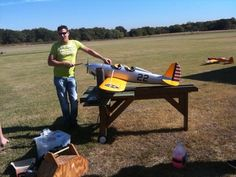 Preparing for the flight of one of my 1/5 scale Ryan STA-M remote control airplanes in October of 2010.