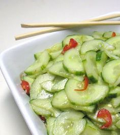 This is an easy and quick Asian Cucumber Salad, that I found to be very refreshing with these lingering high temperatures here in East Texas. There is sweet, sour, hot and salty--all of the components of the fours tastes of a umami explosion!