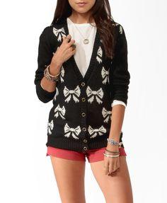 bow print, cardigan sweaterweath, cloth, style, forev 21, bows, prints, longlin bow, print cardigan