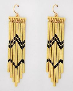 Southwestern Sunset Gold and Black Statement Earrings #statementjewelry #jewellery #jewlry