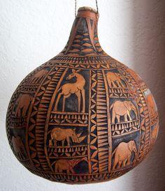 *Gourd Art - Hand carved gourd from Kenya.