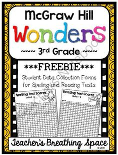 Wonders 3rd Grade --- Student Data Forms for Spelling / Reading Tests *FREEBIE* from Teacher's Breathing Space on TeachersNotebook.com -  (6 pages)  - Wonders 3rd Grade --- Student Data Forms for Spelling / Reading Tests *FREEBIE*
