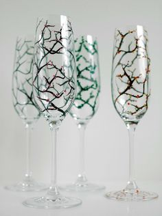 The Four Seasons Champagne Flutes-4 Piece Collection by Mary Elizabeth Arts
