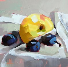 Apple and Plums original still life oil painting by Moulton 6 x 6 inches on panel  prattcreekart