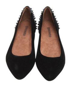 Punk Rivets Flat Shoes in Black - Flats Shoes - Shoes - Footwear