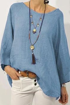 Linen Round Neck Long Sleeves Casual Blouses - Regocy