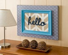 """hello"" painted herringbone canvas"