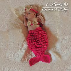Ravelry: Mermaid Cocoon and Headband Photography Prop - NB pattern by Crochet It Baby