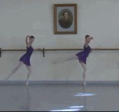 GIF: Vaganova Ballet Academy classical exam 2013, Class 7B  Nika Tskhvitariia and Anastasia Lukina