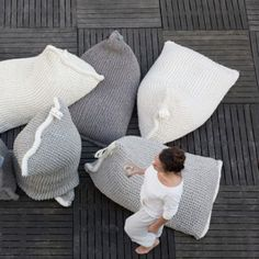 NEST knitted bean bag.