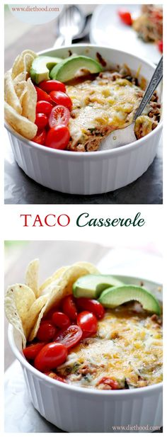 Taco Casserole - Layers of tortillas filled with a mixture of ground beef, greens, tomatoes and cheeses. My family loves this delicious casserole!