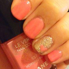<3 heart nails, gold nails, nail polish, wedding nails, valentine day, pink nails, nail arts, glitter nails, gold accent
