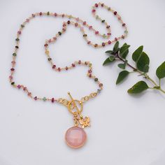 Holiday Sale - October Birthstone Jewelry- Lariat Necklace - Pink Chalcedony Necklace - Wire wrapped Tourmaline and Butterfly Charm Necklace. $78.00, via Etsy.