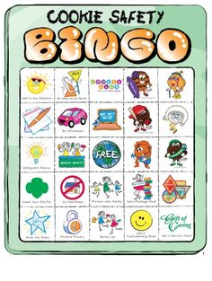 Cookie Safety Bingo - Tune into safety with a game of bingo via little brownie bakers