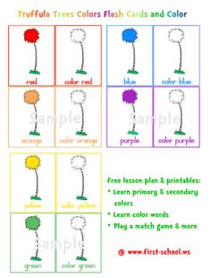 Learn colors & color words with the Truffula Trees flash cards and handwriting worksheets.