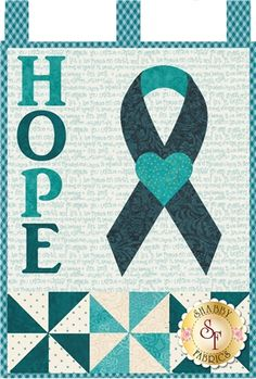 """Little Blessings - Teal Ribbon Laser Cut Kit: Show your encouragement  for those women affected by ovarian cancer with this special wall hanging kit available exclusively from Shabby Fabrics. 12"""" x 18"""" - Only $38"""