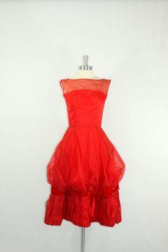 Vintage 1950's  Dress  Fire Engine Red by VintageFrocksOfFancy, $220.00