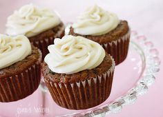 Pineapple Zucchini Cupcakes w/ Cream Cheese Frosting - low fat