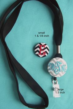 Personalized Monogrammed Black Breakaway Lanyard & Badge Reel Combo for Name Badge via Etsy- -For school..no bending down to unlock doors!
