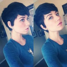 Pixie cut. So cute. @Jill Meyers Simpson I know this is really short haha.. but it wouls totally suit you too! She has the same face shape as you..It would look so puuuurdy :P