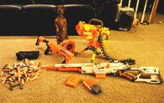 Okay, I'm ready to babysit now... #Nerf, #Dachshund