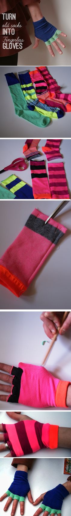 """DIY gloves from old socks  Cut off socks above ankles at length you want your gloves.    Turn Socks inside out.    Sew three """"Vs"""" on raw edge for 4 fingers (see photo).    Cut between stitched V's to create fingers.    Put on glove and mark where thumb is.    Cut 1/2 inch slit for thumb."""