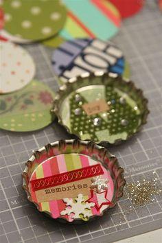 Miniature scenes in bottle caps w/ magnets.