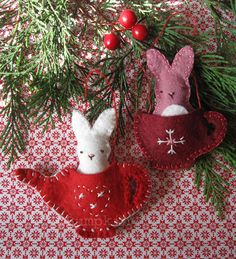 rabbit, sewing kits, craft, embroidery patterns, christma felt, christmas, felt ornaments, tea, friend