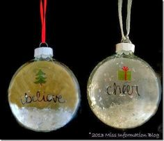 Make these super easy decoupage ornaments. Great Christmas gifts or perfect for a holiday craft party! Miss Information Blog #christmas #ornaments #marthastewartcrafts #MSholiday - fun holiday DIY using Martha Stewart Crafts