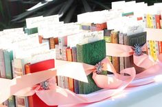 A library table plan using old books and ribbon