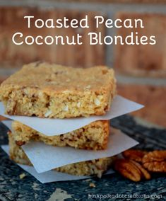 Toasted-Pecan Coconut Blondies | Pink Polka Dot Creations