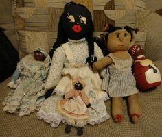 Vintage Lot of 5 Wood & Cloth African American Black Folk Art Rag Dolls Handmade