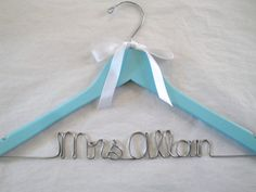 Something Blue - Personalized Bridal Hanger -$26.00