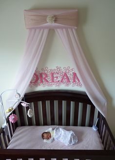 Crib canopy we did it ourselves on pinterest play for Baby girl canopy cribs