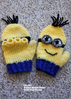 Free Crochet Pattern Minion Mitts : 2013 Hand Made Knitted Cartoon Baby Mittens Crochet Minion ...
