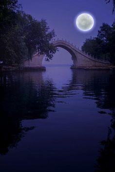 ~~Summer Palace Beijing, the Jade-belt bridge ~ surreal deep violet moon and water scenic, China by iris_muni~~