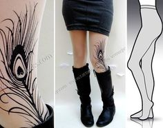 l/xl gorgeous MINI and BOOTS peacock FEATHER tattoo by tattoosocks, $25.00