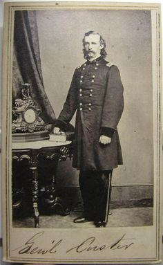 Civil War era CDV of General Custer from Mathew Brady negative published by E. & H.T. Anthony. Rare full length portrait of Custer in the Brady Studio.