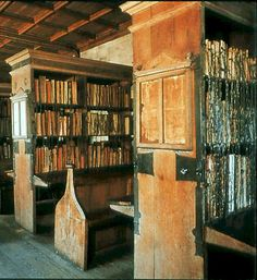 The working library of Hereford Cathedral in England originated in the eleventh century. The chained library at the cathedral, containing 229 medieval manuscripts, remains the largest historic chained library in the world, with all its rods, chains and locks intact. It has been preserved in the form in which it was maintained from 1611 to 1841. Ohhhhhhhh my gosh.....