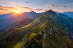 Sunset in the Alps over the Grat Mountain