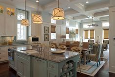 coast cottag, kitchen idea, open spaces, color, blue, beach houses, dream kitchens, island, white kitchens