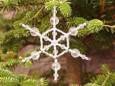 Clear beaded snowflake decoration, snowflake suncatcher by FfigysDesigns