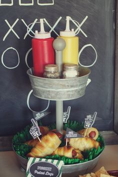 Tiered snack tray at a Football Party!  See more party ideas at CatchMyParty.com!  #partyideas #football