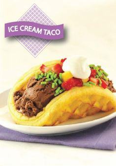 Try this Ice Cream Eggo Waffle Taco for dessert! Top with your favorite toppings.