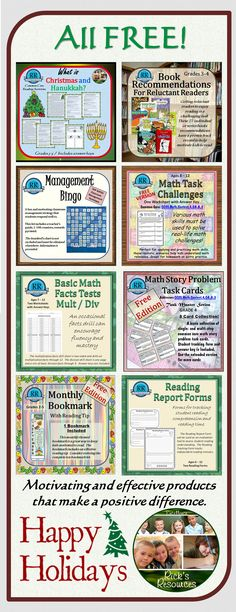 FREE...Enjoy these free products this holiday season!  All are 4-star rated and very effective resources for grades 3-6. Have a very happy holiday season and a GREAT New Year!   Rick