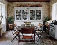 china cabinets, floor, rustic kitchens, french country, stone walls, hous, country kitchens, stones, kitchen designs